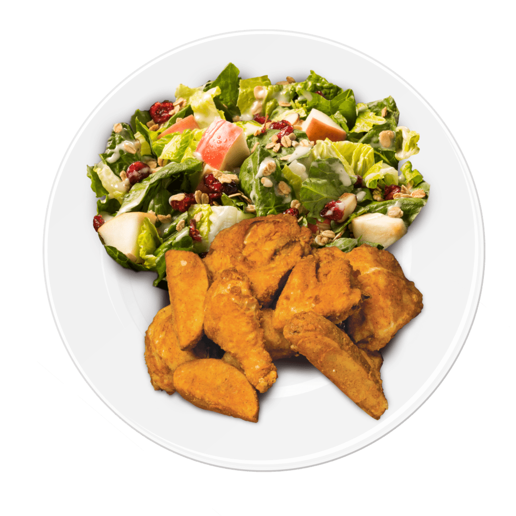 chicken and salad on a plate