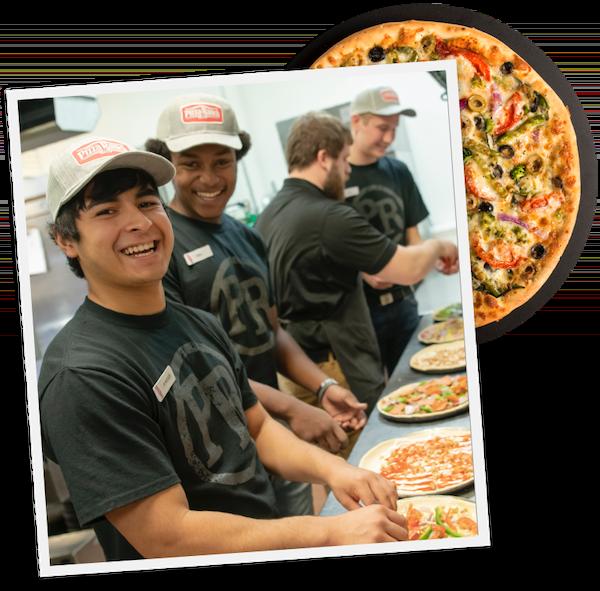 Pizza Ranch employees assembling pizzas